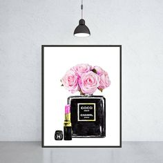 Chanel Noir perfume with roses & Chanel lipstick The elegant illustration of Chanel Noir bottle perfumes gives the irrepressible spirit with magnificent watercolor red rose expressing refined sensuality and intensity. This artwork decorates your home, as well as making a chic and impressive