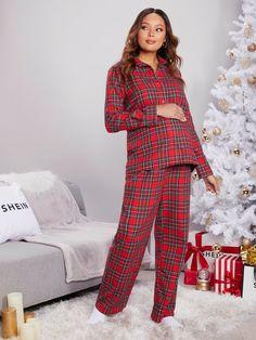 Maternity Tartan Blouse With Pant Comfy Pajama Set Maternity Pajama Set, Maternity Lounge Wear, Maternity Sleepwear, Pj Sets, Nightwear, Tartan, Pajamas, Comfy, Blouse