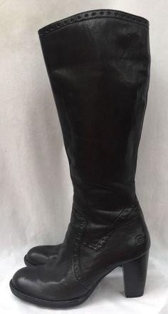 "Born Leather Black High 3"" Heels Shoes Boots Sz 6 | eBay"