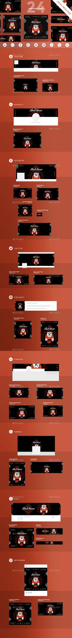 Steak House Social Media Pack The pack covers all basic design template variations for social media posts and headers to choose from and apply to your brand. Modern, clean and customizable, they are fully optimized for social platforms and ideal for promoting products, brands and businesses.