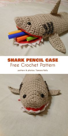 Shark Pencil Case Pouch Free Crochet Pattern (Your Crochet) Crochet Pencil Case, Pencil Case Pattern, Pencil Case Pouch, Crochet Pouch, Crochet Gifts, Cute Crochet, Crochet For Kids, Crochet Toys, Pencil Cases