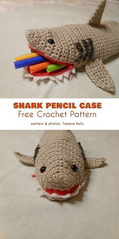 Shark Pencil Case Pouch Free Crochet Pattern (Your Crochet) Crochet Shark, Cute Crochet, Crochet For Kids, Crochet Crafts, Crochet Toys, Crochet Projects, Crochet Pencil Case, Pencil Case Pattern, Pencil Case Pouch