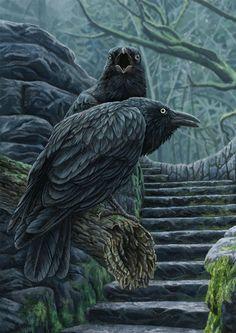Watchmen Canvas Artwork by Lisa Parker Crow Art, Raven Art, Bird Art, Lisa Parker, Quoth The Raven, Earth Design, Crows Ravens, Mystique, Gothic Art
