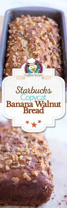 Make your own homemade version of Starbucks Banana Walnut bread with this easy to make copycat recipe.