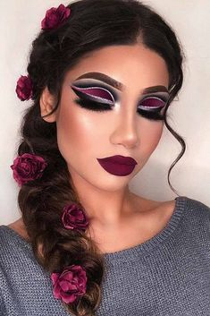 Vintage Makeup Bold Makeup Idea With Flowers Braid Hairstyle Makeup Trends, Makeup Tips, Hair Makeup, Makeup Ideas, Makeup Hairstyle, Party Eye Makeup, Party Makeup Looks, Makeup Goals, Makeup Tutorials