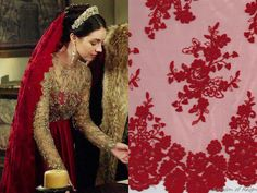 Reign 3x09, Mary wears this custom veil by Reign Costumes made with with a double-sided scalloped tulle from Leo's Textiles