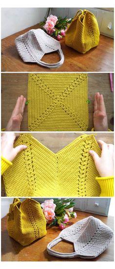 Crochet Design, Crochet Diy, Crochet Tote, Crochet Handbags, Crochet Purses, Learn To Crochet, Crochet Crafts, Crochet Stitches, Crochet Projects