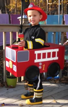 Fireman in Fire Truck - 2014 Halloween Costume Contest via @costume_works