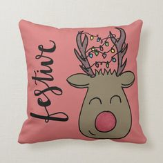 Festive Pillow - tap to personalize and get yours #rudolph, #red, #nose, #reindeer, #christmas, Rudolph Red Nosed Reindeer, Reindeer Christmas, Accent Pillows, Throw Pillows, Sharpie Doodles, Artwork Design, Party Hats, Custom Pillows, Funny Cute