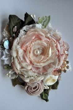 VICTORIAN EDWARDIAN ROSE powder pink brooch dress hat pin vintage wedding peony