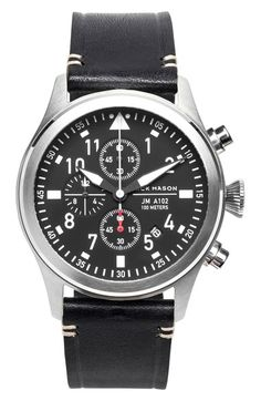 Jack Mason Brand Chronograph Leather Strap Watch, available at Stylish Watches, Casual Watches, Cool Watches, Watches For Men, Omega Seamaster Gmt, Seamaster Aqua Terra, Mens Fashion Wear, Diamond Quartz, Second Hand