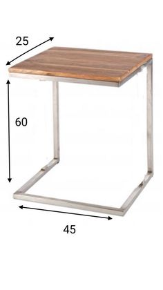 Mesa auxiliar de acero inoxidable y madera / Home Office Furniture Design, Industrial Design Furniture, Space Saving Furniture, Home Decor Furniture, Unique Furniture, Pallet Furniture, Furniture Plans, Steel Bed Frame, Sofa Side Table