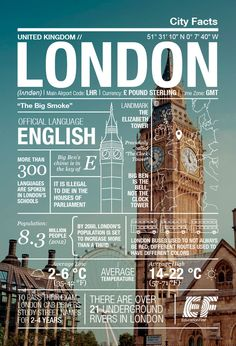 t's hard not to love London - it's edgy, energetic and seeped in history and tradition all at the same time. We created this London infographic to highlight some of the fun facts that make it so special. Gernal Knowledge, General Knowledge Facts, Typographie Inspiration, Voyage Europe, London, Travel Information, History Facts, World Traveler, Travel Around The World
