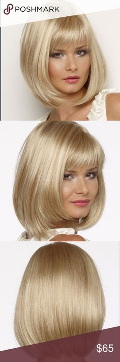 Blonde wig. 10 inch human hair. Do blondes really have more fun? Here's your chance to find out. This week is super cute and fun without the fast pass and expense of recoloring your hair grow this on for a night out on the town and have a blast brand-new never worn enjoy Accessories