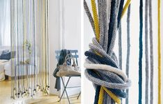 Thinking about making a hanging rope dividers like this to separate work zones in the office. Diy Tricot Crochet, Diy Crochet And Knitting, Crochet Cross, Spool Knitting, Knitting Ideas, String Curtains, I Cord, Interior Windows, Home And Deco
