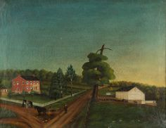 "Fine folk art oil on canvas farm scene. Fresh from a West Virginia private collection, purchased at a Pennsylvania estate auction in the 1960s. 27 1/2"" x 21 5/8"" sight size."