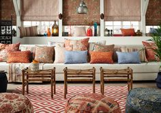 Bohemian style is eclectic and global with lots of hippie patterns, textures and plants, giving an artisanal and nomadic impression. Drapery Fabric, Color Of The Year, Pantone Color, Timeless Design, Boho Decor, Henna, Upholstery, Colours, Couch