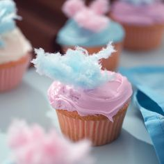 Cotton Candy Cupcake - looking for an actual recipe, but I like the decoration idea itself too.
