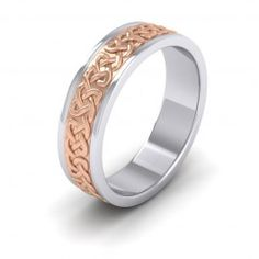 Celtic Patterned Two Colour Flat 950 Platinum 6mm Wedding Ring