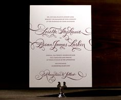 Loretta Formal is a vision, dressed in traditional letterpress glamor with pretty calligraphy script.