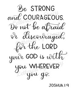 Printable Bible verse  Be strong and courageous printable   Etsy