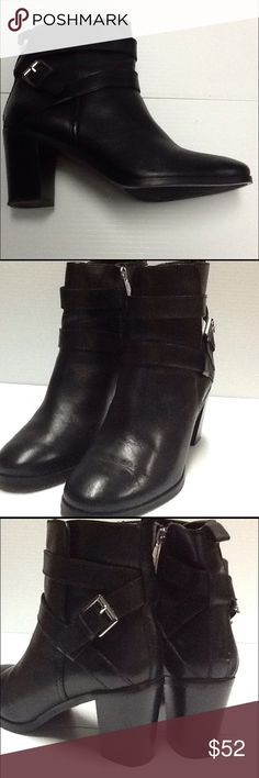 Ralph Lauren Black Ankle Boot Worn once in a department store fashion show. Please see bottoms. No other damage. Comes in original box. Black leather with rubber sole. Style name of Cassy. Side zip. Heel is 2.75 inches. Ralph Lauren Shoes Ankle Boots & Booties