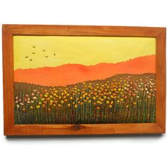 Small format Fiber Art Wall hanging Embroidery picture Orange Yellow Framed textile painting