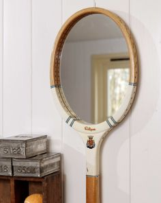 Upcyle that old tennis or badminton racket! Did this for a mountain house-very simple to get done at any mirror company. Recycling, Badminton Racket, Vintage Tennis, Deco Originale, Creation Deco, Look In The Mirror, Rackets, String Lights, Diy Furniture