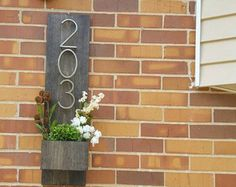Rustic Address Planter, Address Sign, House Numbers Sign, Address Plaque, New House, Address Planter, Vertical Address Sign