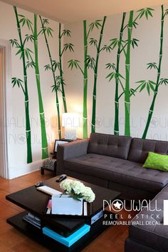 Removable Bamboo wall decal Tree Wall Decals Wall by NouWall Wall Murals, Wall Decal, Bamboo Wall, Wall Stickers Home, Tree Wall, Textured Walls, Wall Design, Interior Design Living Room, Room Decor