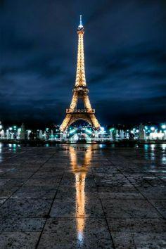 Paris. The Eiffel Tower under the night skies