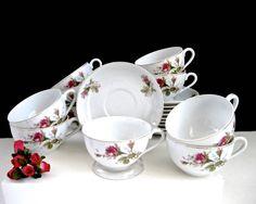 Lot 10 Matching Cups & Saucers • Vintage Japan • Wild Rose Pattern • White Gold Trim Porcelain China • Bridal Tea Garden Party by KatesChockfullAttic on Etsy