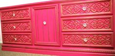 Classy Clutter: Sassy Pink and Gold Dresser. I don't really know about the gold accent on it, but the pink is definitely something I would love