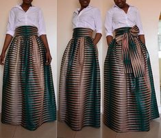 This elegant maxi skirt is made from high quality African print wax fabric, 100% cotton.  *Maxi length *3.5/9cm thick waistband *Perfectly gathered waist *Two side pockets *Separate bow tie/ sash *Zipper closure at the back *Lined for added comfort   Proudly hand made in Kenya.   ✂⋯⋯ S I Z E C H A R T ⋯⋯✂  XS: Waist 25 - 26  S: Waist 27 - 28  M: Waist 29- 30  L : Waist 31.5 - 33  XL: Waist 34.5 - 36  XXL: Waist 37 - 39  3XL: Waist 40 - 42    ♥ ♥ Measurements are welcome to ensure perfect…