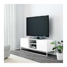 HAGGE TV unit - white - IKEA - Paint metal a different color to break this piece up