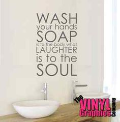 wash your hands vinyl wall art sticker bathroom quote decal