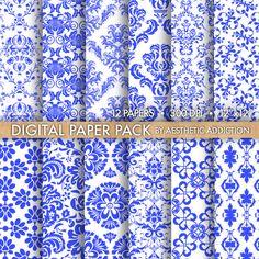 Colbalt Blue Damask Floral Digital Paper.