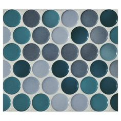 "Complete Tile Collection Penny Round Mosaic - Cerulean Blend - Gloss, 1"" Round Glazed Porcelain Penny Mosaic Tile, Anti-Microbial, Anti-Odor, Anti-Staining Technology, MI#: 063-Z1-250-028, Color: Cerulean Blend"
