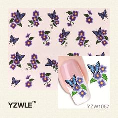 YZWLE 1Pcs Nail Art Water Sticker Nails Beauty Wraps Foil Polish Decals Temporary Tattoos Watermark
