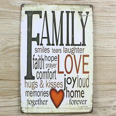 "ABOUT letters signs "" family and love  "" Metal painting UA-0133  vintage tin signs tinplate  wall art craft for bar 20x30cm"