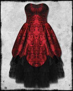 HELL BUNNY MAJESTY RED BLACK FLOCKED SATIN GOTH STEAMPUNK VICTORIAN PROM DRESS | eBay