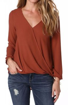 Cross Over Blouse in Rust