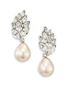 KENNETH JAY LANE CRYSTAL & FAUX-PEARL DROP EARRINGS. #kennethjaylane #