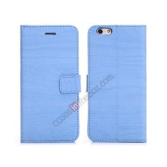 Wooden Texture flip stand leather case for iPhone 6 Plus 5.5inch with card slots - Light blue US$10.69