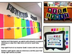 Black and neon. Love the bright colored banner and way to display student work!