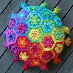 Rainbow Crochet African Flower Free Pattern Cushion With Tassels - Crochet Craft, Crochet Cushion