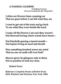 Robert Frost, A Passing Glimpse