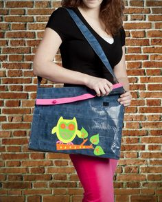 Duck Tape denim and owl bag http://www.duckbrand.com/craft-decor?utm_campaign=dt-crafts&utm_medium=social&utm_source=pinterest.com&utm_content=duct-tape-crafts-school
