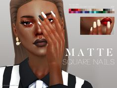 Lana CC Finds -  Matte Square Nails N07 by Pralinesims