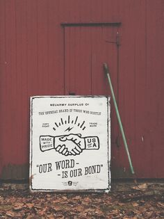 Word is Bond, hand-painted wood sign by #neuarmy